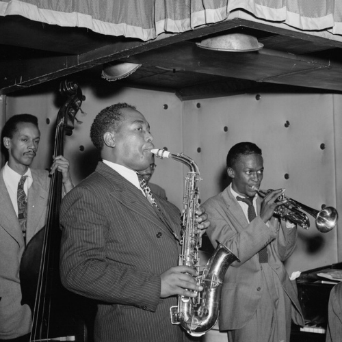 Portrait of Charlie Parker, Tommy Potter,  Miles Davis, Duke Jordan, and Max Roach,  Three Deuces, New York, N.Y., ca. Aug. 1947 photo: William P. Gottlieb/Ira and Leonore S. Gershwin Fund Collection, Music Division, Library of Congress